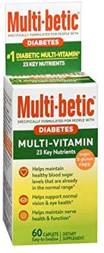 Multi-Betic Diabetes Multi Vitamin and Mineral 24 Hour Support Formula, (Pack of 3)