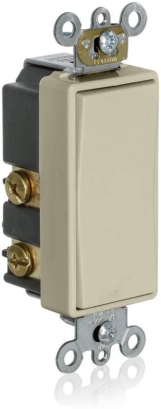 Leviton 56080-2T Momentary Contact SPST Decora Plus Rocker Switch, Light Almond