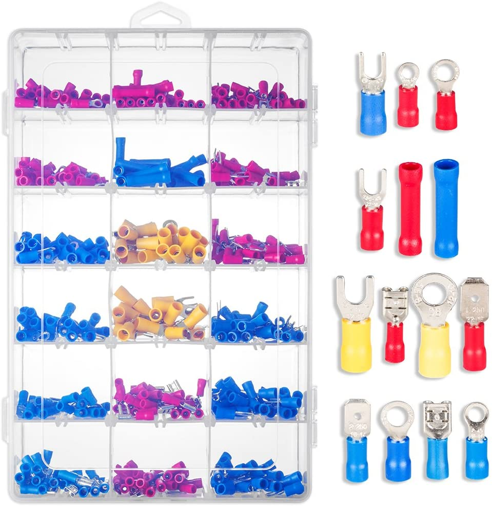 uxcell 520 Pcs Assorted Insulated Electrical Wire Terminals Kit Crimp Spade Set Copper PVC Tinplate