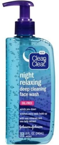 Clean and Clear Night Relaxing Face Wash, 8 Fluid Ounce - 24 per case.