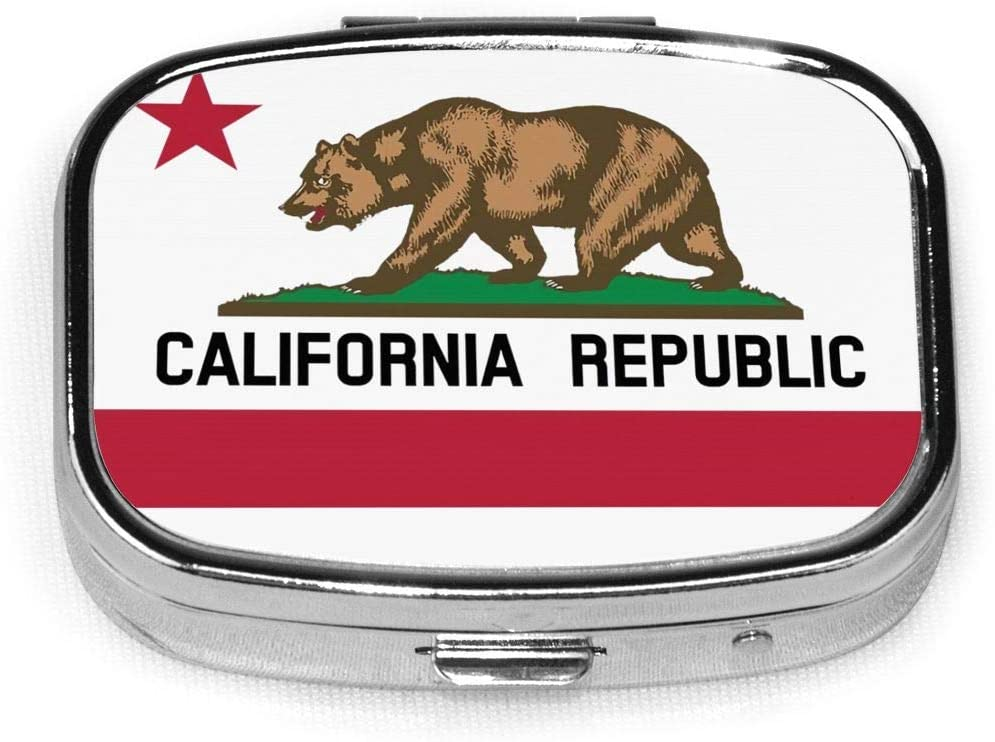 Wehoiweh California Republic 2.2x1.6x0.7 Inch Mini Medicine Box, Full Size Printing is Easy to Carry