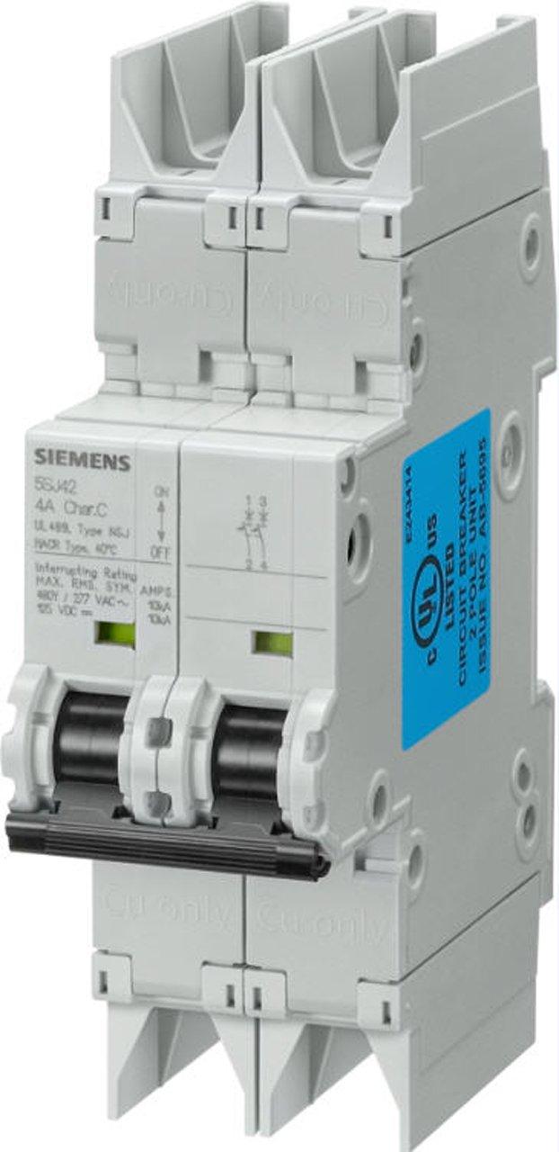 Siemens 5SJ42018HG42 Miniature Circuit Breaker, UL 489 Rated, 2 Pole Breaker, 1 Ampere Maximum, Tripping Characteristic D, DIN Rail Mounted, Type NSJ, 480Y/277 VAC, 125 VDC