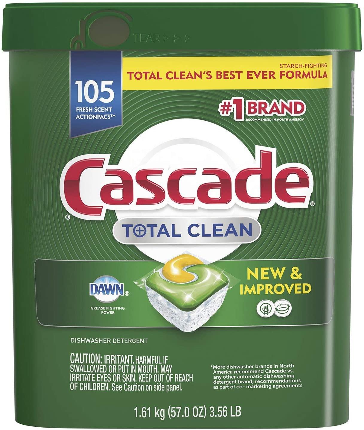 Cascade Total Clean ActionPacs, Dishwasher Detergent, Fresh Scent - 105 Count
