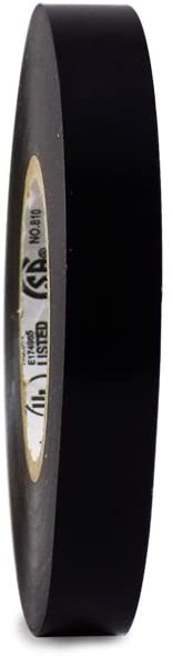 T.R.U. EL7566-AW Professional Grade Rubber Black PVC Electrical Tape, Rated up to 600 Volts and 176 F - UL/CSA/CE Listed Synthetic: 1/2 in. x 66 Ft. (8 Mil)