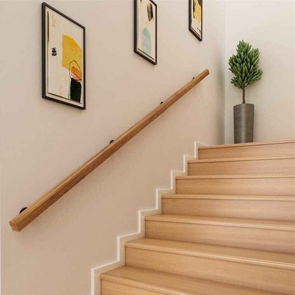 Wall Safety Railing Handrail, The Wall Indoor Loft Non-Slip Round Solid Wood Stair Banister Handrails, Corridor Elderly Railings Handrails 0714 (Size : 7ft/210cm)