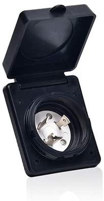 TREKPOWER 125V 30 AMP RV Power Plug Twist Lock Inlet with 3 Stainless Steel Pins, Black