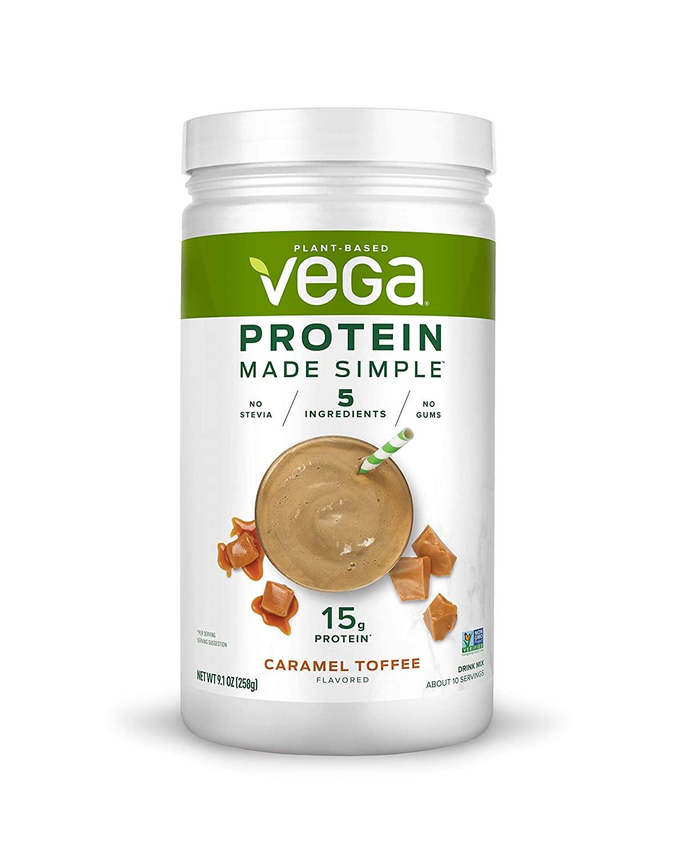 Vega Protein Made Simple - Caramel Toffee (10 Servings), 9.1 Oz - Delicious Plant Based Healthy Vegan Protein Powder - Stevia Free, Dairy Free, Gluten Free, Non Gmo, No Gums