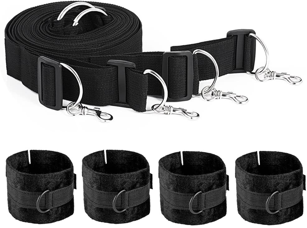 Bandrope Collar Hand Wrist Braces Straps with 4 Cuffs System Kits -Black