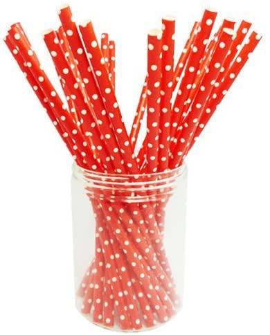 Chensheng Paper Straws Polka Dot Pattern Pack of 25 Red