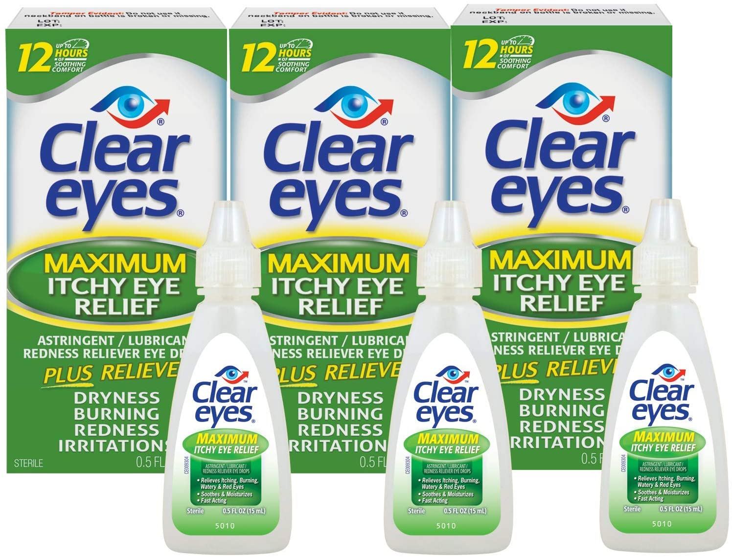 Clear Eyes Eye Drops, Maximum Itchy Eye Relief, 0.5 oz, Pack of 3