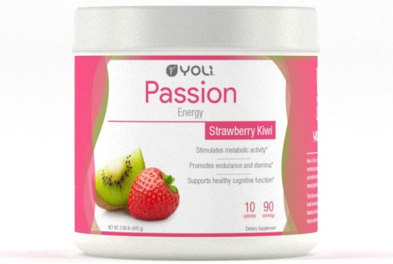 Yoli Passion Energy Drink - Sugar Free - Sweetwened with Stevia - Long Lasting Healthy Energy Without Jitters (Canister, Kiwi Strawberry)