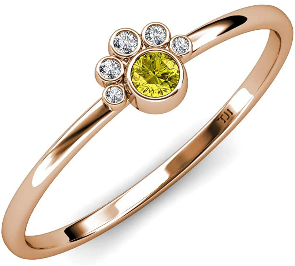 TriJewels Round Yellow and White Diamond 1/6 ctw Womens Paw Print Promise Ring 14K Gold