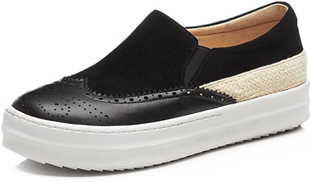 Women's Flat Platform Semi-Brogue Shoes Vintage Dress Loafer Shoes