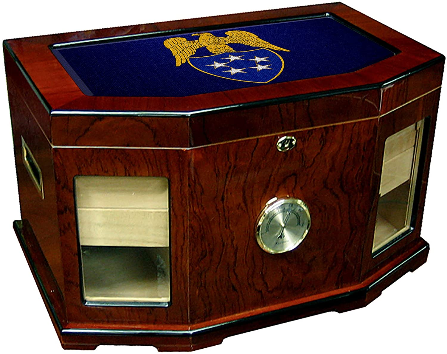 Large Premium Desktop Humidor - Glass Top -US Army, Insignia of Aide to General of The Army