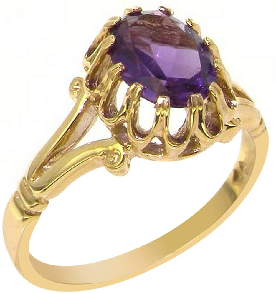 Solid 14k Yellow Gold Natural Amethyst Womens Solitaire Ring - Sizes 4 to 12 Available