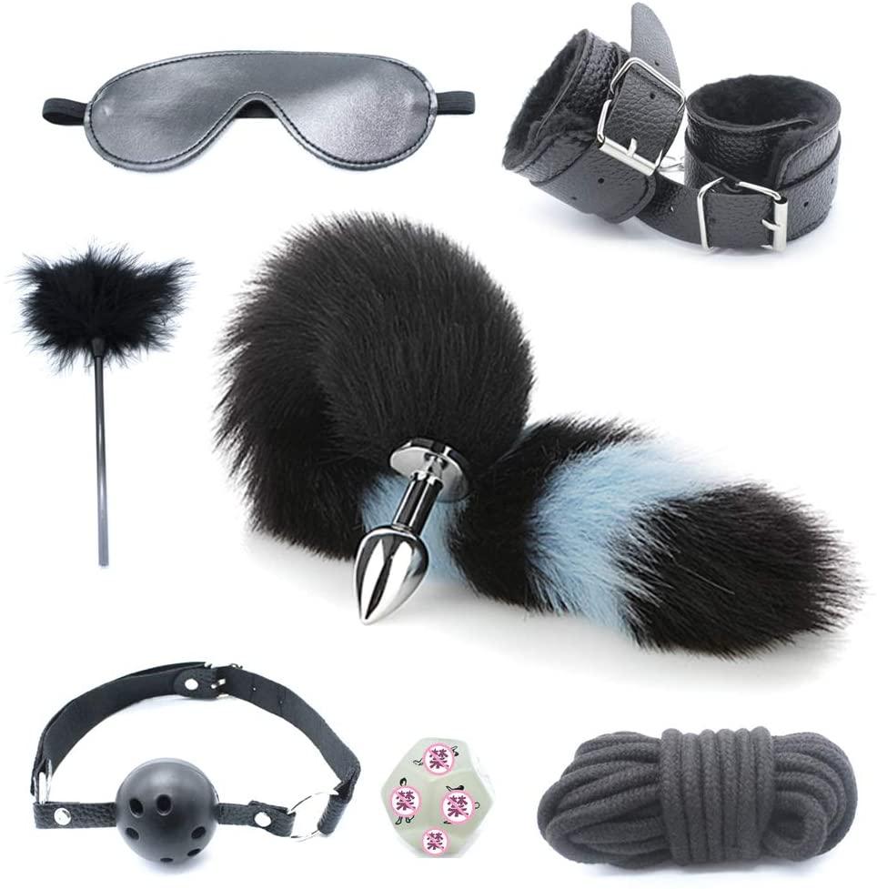 XANGLO 7pcs Erǒtíc Bondage Restraint Set Bǔtt Plǔg Täíl Handcuffs MǒuthBǎll Fetish BdS-M S-M Ǎd-ULT Game Ṡěx Tǒy for Cọuples
