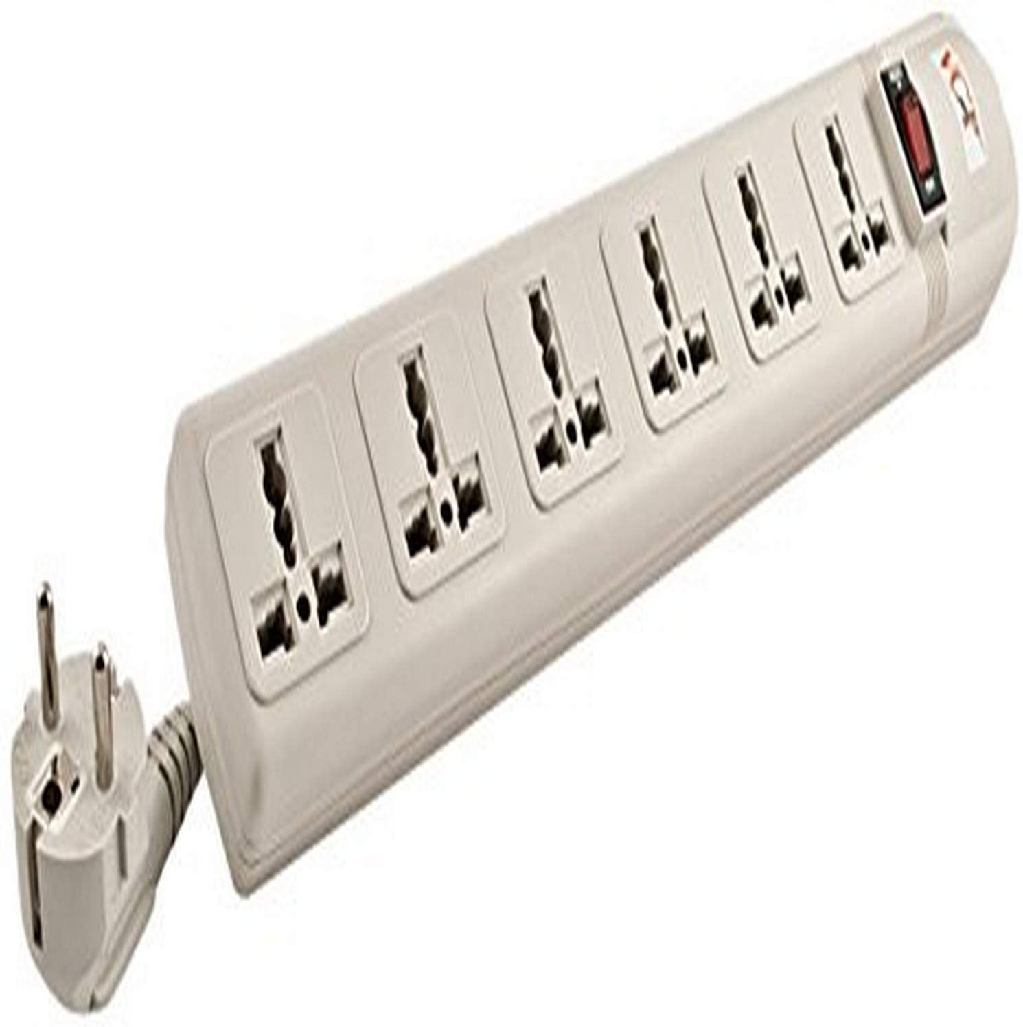 VCT - 220V/240V AC 13A Universal Surge Protector / Power Strip with 6 Universal Outlets. 50Hz/60Hz - 450 Joules. Max. 4000 Watt Capacity - Heavy Duty European Cord