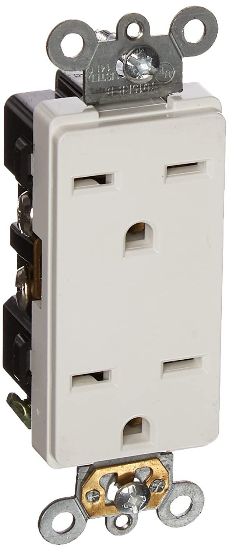 Morris 82216 Industrial Grade Decorative Duplex Receptacle, 15 Amp Current, 250V, White