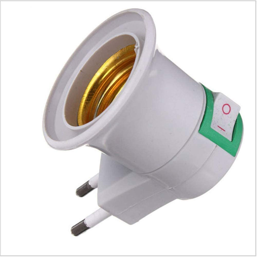 ZIMAwd 1PC Practical White Light Socket to EU Plug Holder Adapter Converter ON/Off for Bulb Lamp,Easy-to-Install