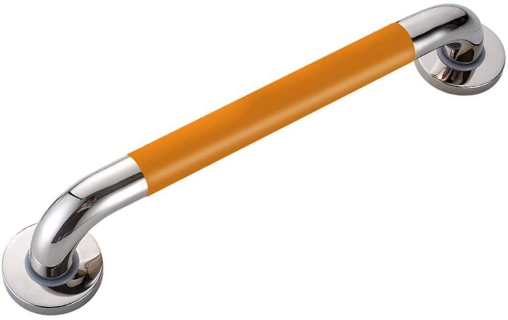 HTLLT Safety Handle Handrail Bar, 68Cm Long Stainless Steel + Yellow Non-Slip Grip Chrome Non-Slip Elderly Child Disabled Handrail Bathroom Shower Toilet