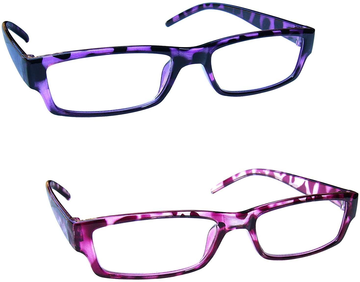 The Reading Glasses Company Purple & Pink Tortoiseshell Lightweight Readers Value 2 Pack Mens Womens RR32-54 +3.00
