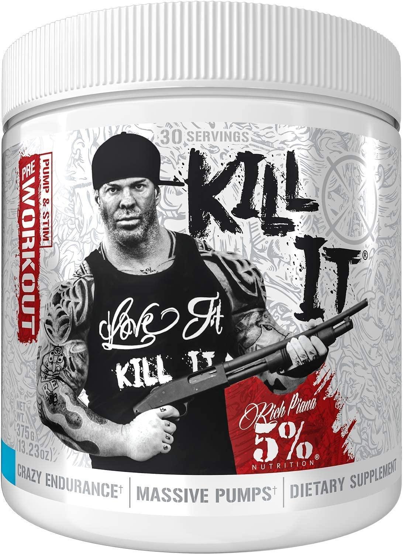 Rich Piana 5% Nutrition KILL IT Pre Workout Powder w/Creatine, Jitter-Free Caffeine, NO-Booster, Beta Alanine, L-Citrulline for Focus, Pump, Endurance, Recovery 13.23 oz, 30 Srvgs (Blueberry Lemonade)