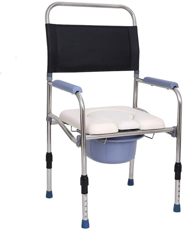 XQY Medical Bedside Commodes,Foldable Handicapped Commode Chair Bathroom Shower Stool Portable Pregnant Woman Elderly Person Anti-Slip Handrails Toilet Seat Rugged and Durable Height Adjustable Stain