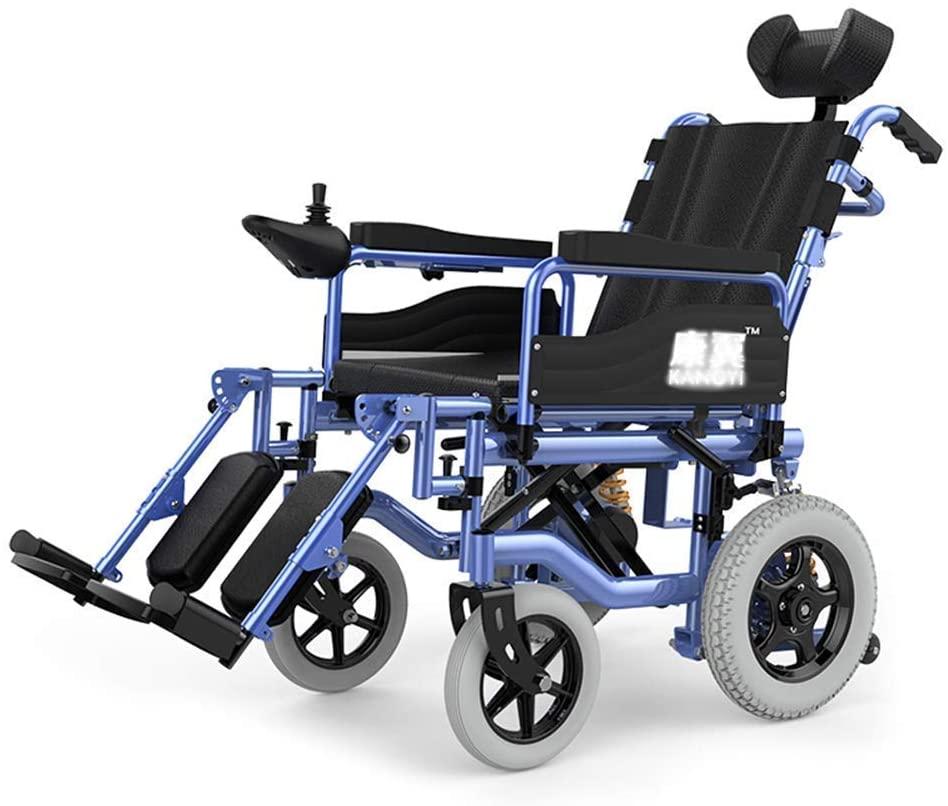 NADAENW Portable Foldable Electric Wheelchair Lightweight Aluminum Alloy Frame with Adjustable Backrest and Headrest 360° Joystick
