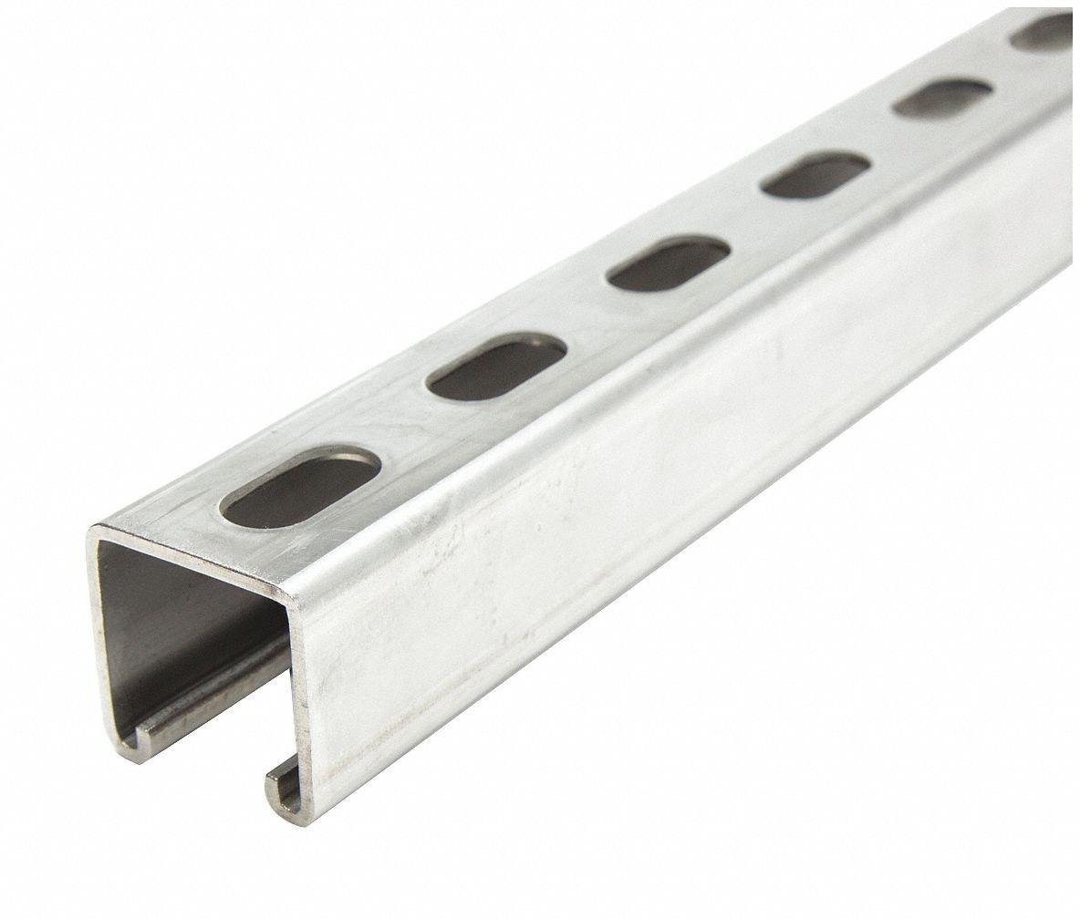 Strut Channel, 2 ft. L, 304 Stainlss Steel
