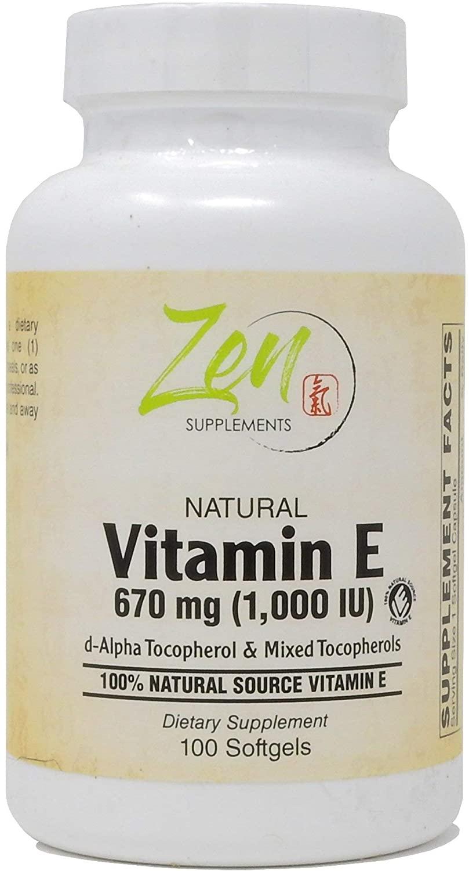 High Potency Natural Vitamin E – 1000IU Vitamin E Capsules with 100% Natural Mixed Tocopherols - Non-GMO Complete E Vitamin – 100 Softgels