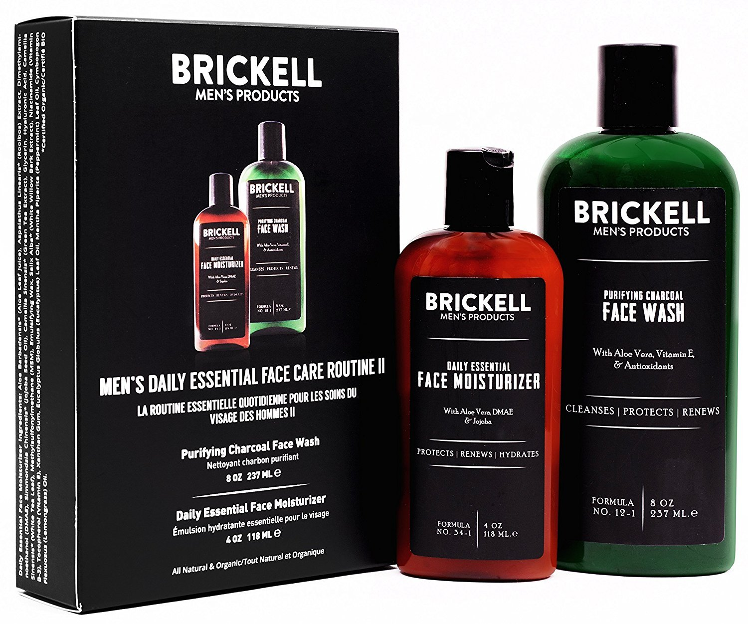 Brickell Mens Daily Essential Face Care Routine II, Purifying Charcoal Face Wash and Daily Essential Face Moisturizer, Natural and Organic, Scented