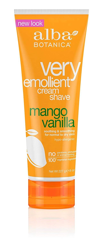 Alba Botanica Natural Very Emollient Cream Shave, Mango Vanilla 8 oz (Pack of 3)