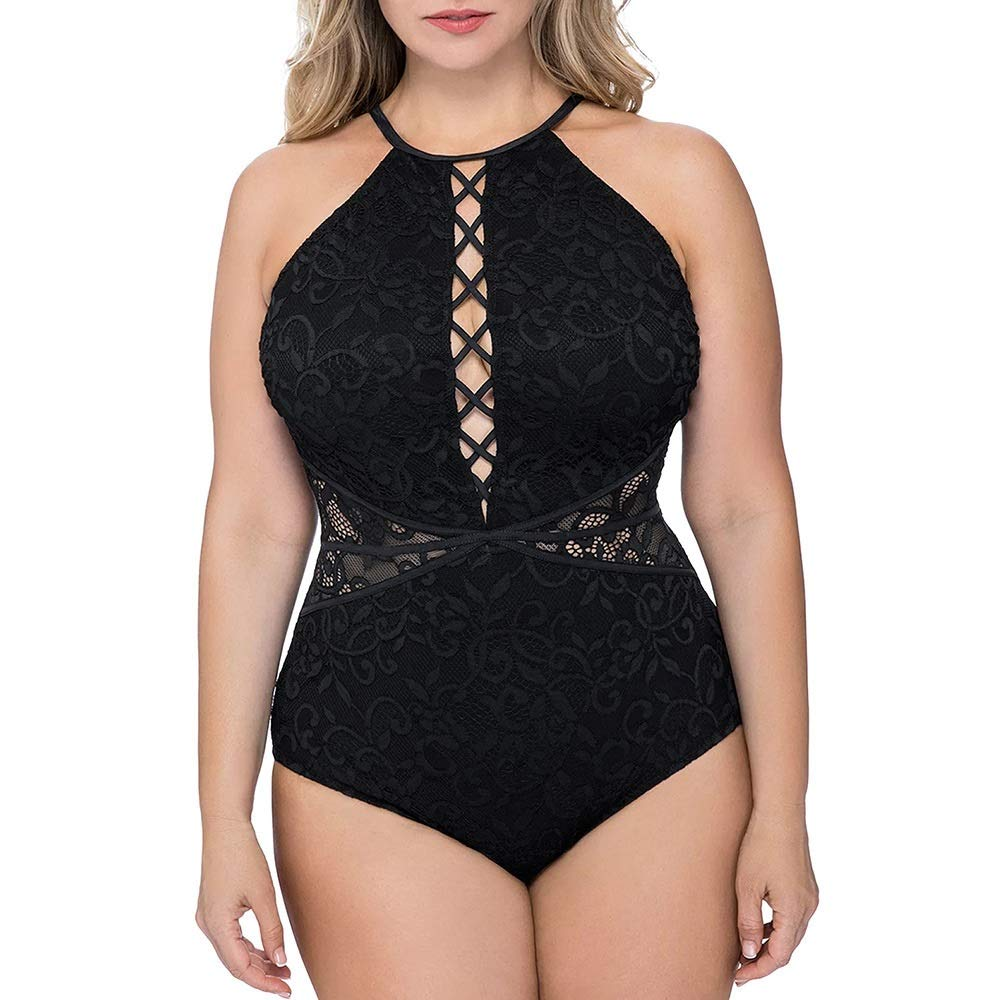 ZHANGBBB Swimsuit female sense lace cross straps slim cover belly Europe and the United States new conjoined large size triangle swimwear (Color : Black, Size : 5X)