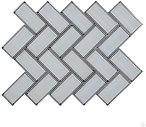 Ice Bevel White 2x4x8 Herringbone Mosaic Tile,7.42 SFT/Case(7 Pcs)