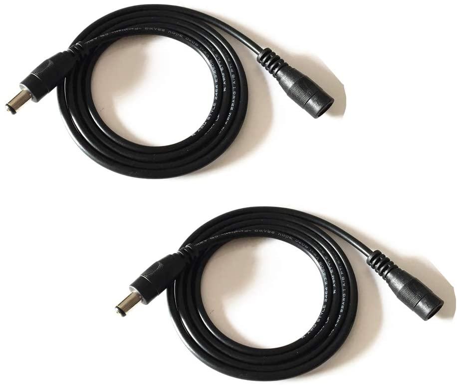 2PCS 3.28ft Black 5.5mm x 2.1mm DC Plug Extension Cable for Power Adapter 12v dc Extension 5.5mm x 2.1mm Extension 22AWG