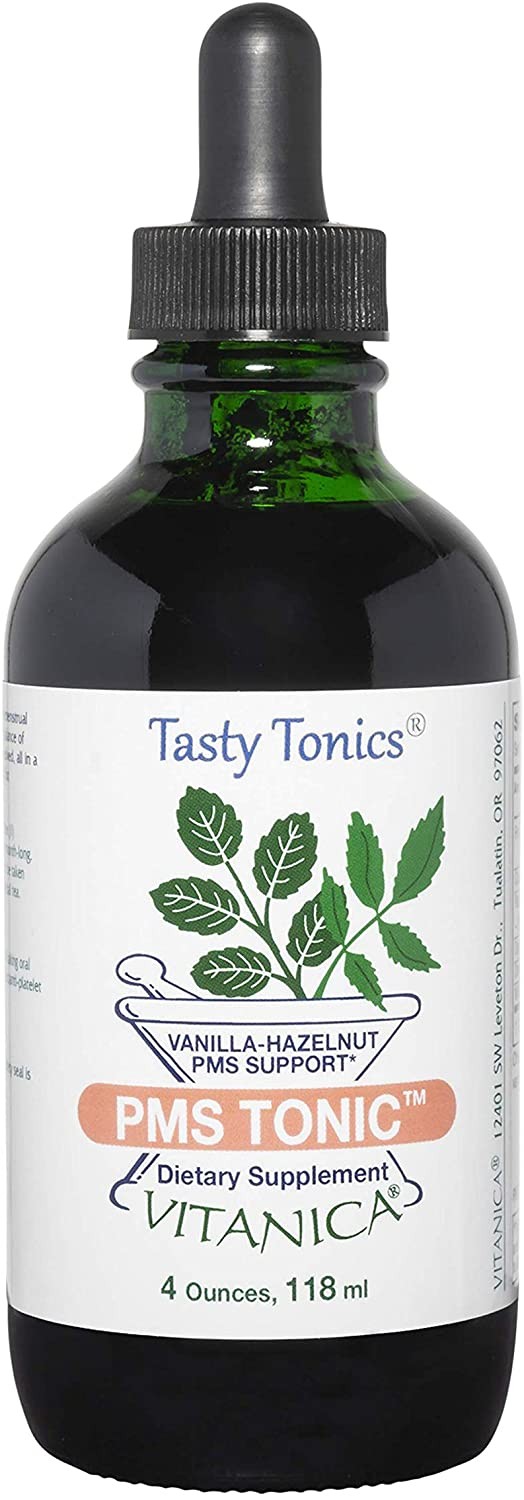 Vitanica PMS Tonic, Premenstrual Support and Relief, Saint Johns Wort, Dong Quai, Chaste Tree Berry, Wild Yam and More, Vegan, 4 Ounce