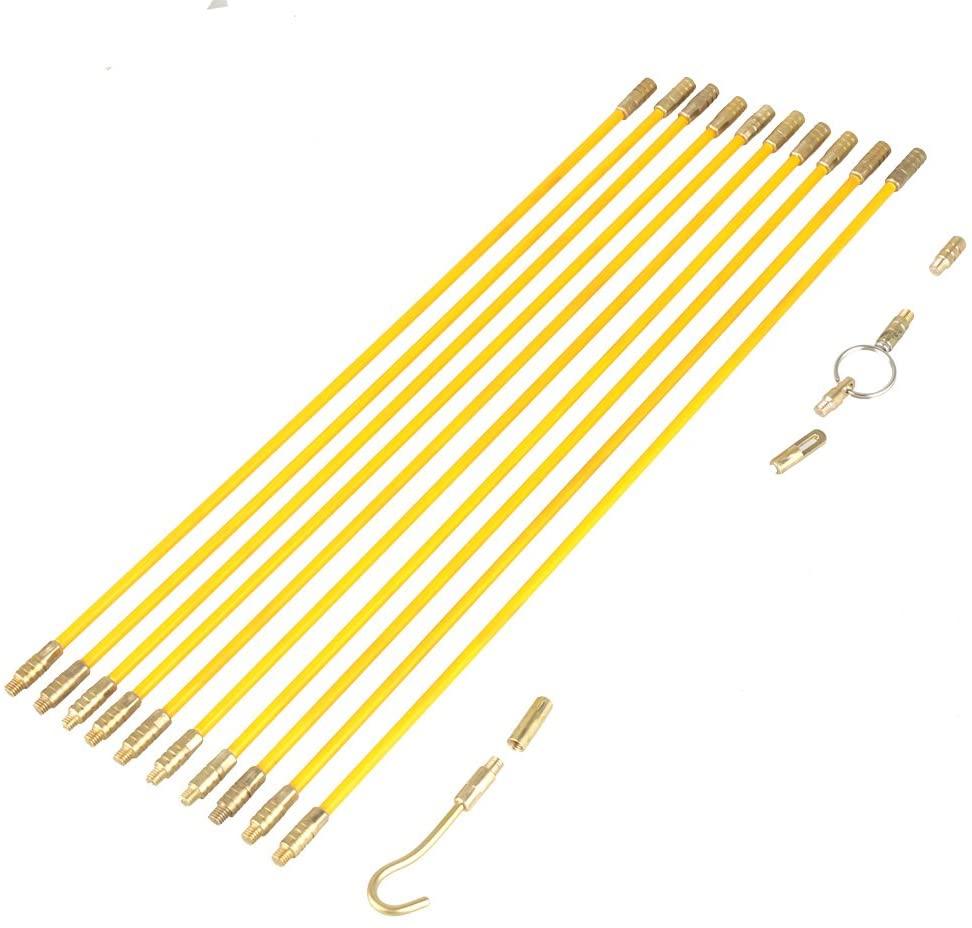 TOPINCN Running Wire Cable Fiberglass Brass Glass Fiber Electrical Pulling Fish Tape Pull & Push Kit 10pcs 4mm