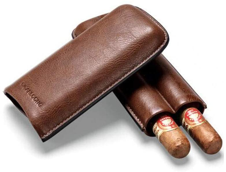 Nuokix Cigar Case Cigar Box, Portable Cow Leather Cigar Moisturizing Set Cigar Tube 2, Cigar Humidor and Cigar Accessories Smoker, Brown Optional Good Mood, Good Life (Color : Brown, Size : 17.5 7
