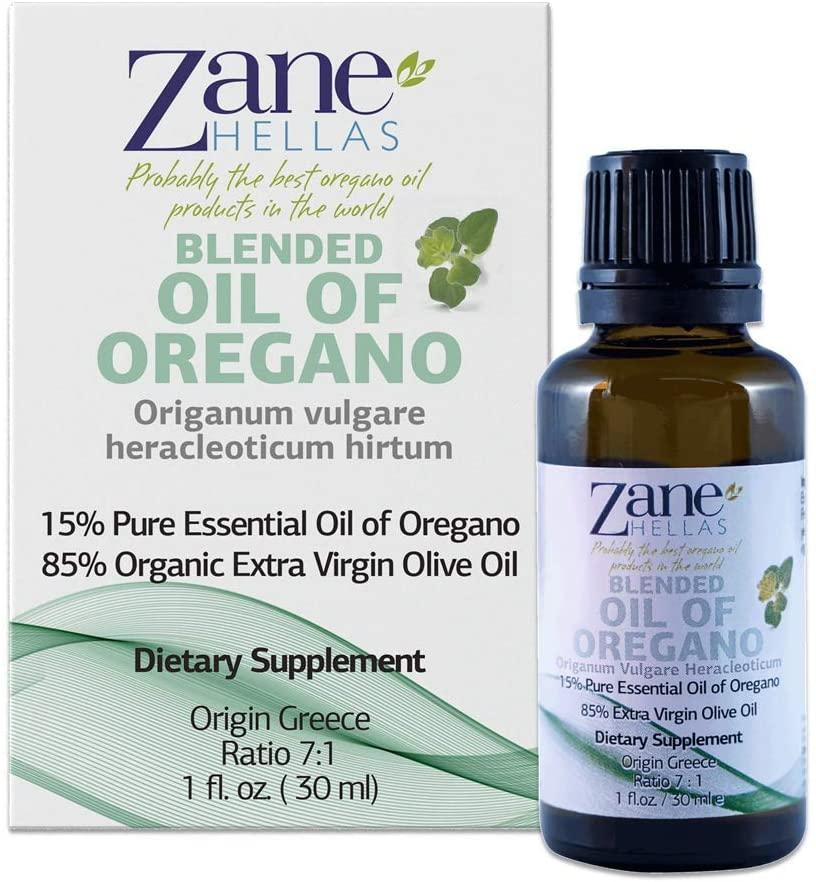 Zane Hellas 15% Oregano Oil. Pure Greek Essential Oil of Oregano .86% Min Carvacrol. 20mg Carvacrol Per Serving. Probably The Best Oregano Oil in The World. 1 fl. oz.- 30ml