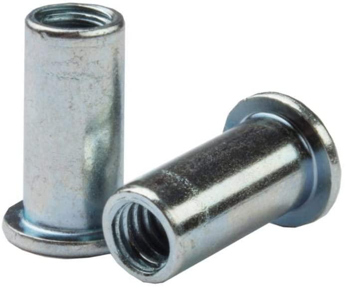 CA-3118S-125, RIVETNUT, 5/16-18 (.030-.125 GR) RND Body, Flat HD, Steel, Zinc CLR (100 PK)