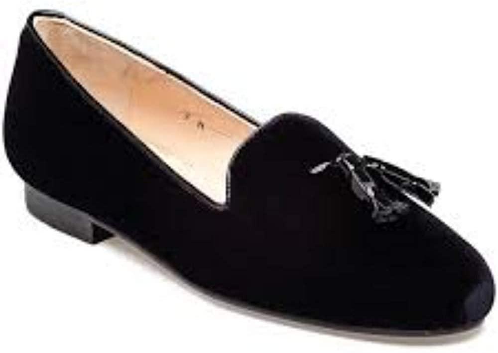 Jon Josef Womens Gentry Black Velvet Loafer Flat
