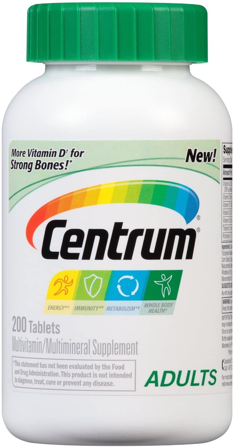 Centrum Adult Multivitamin/Multimineral MYsNh Supplement, 200 Count (Pack of 3)