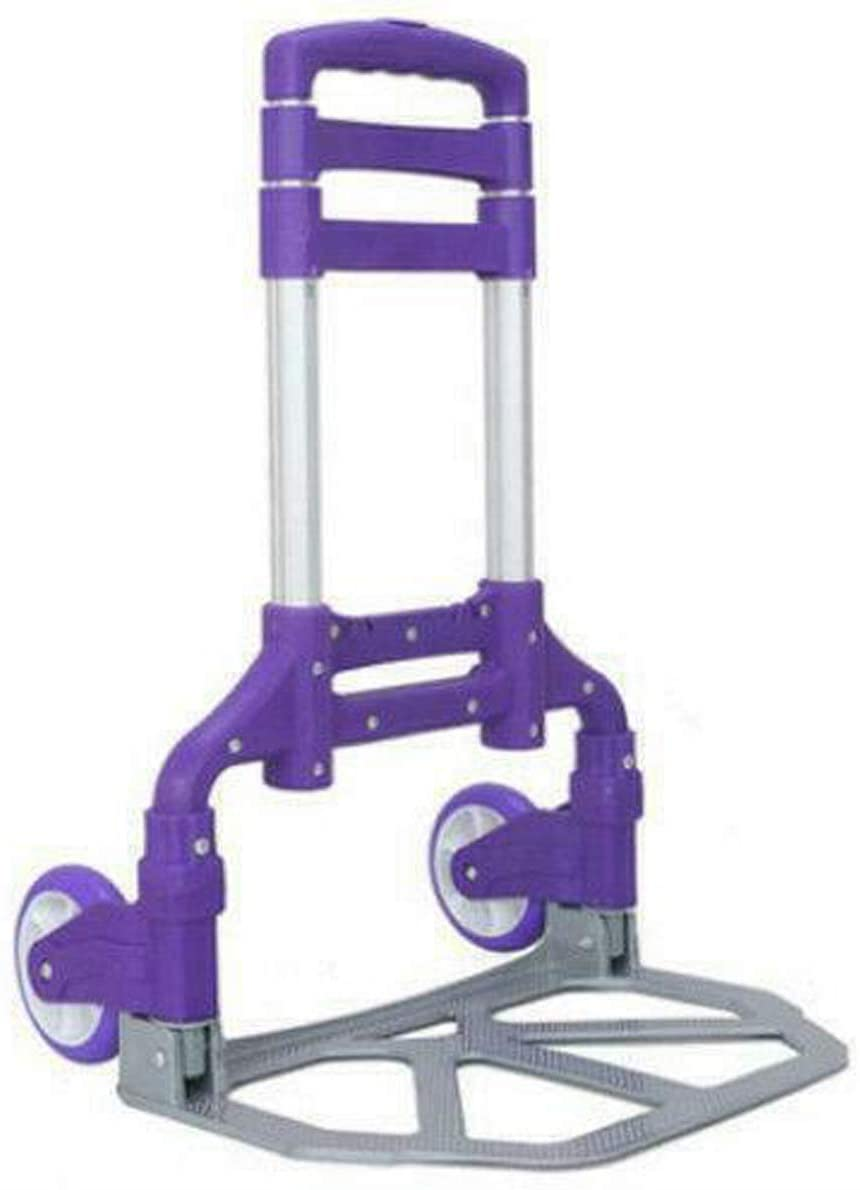 Aluminum Utility Luggage Cart Dolly Push Hand Truck Trolley Purple Durable Sturdy Heavy Duty Foldable Adjustable Portable 165 Pound Capacity for Home Indoor Outdoor Warehouse Garage Office Garden