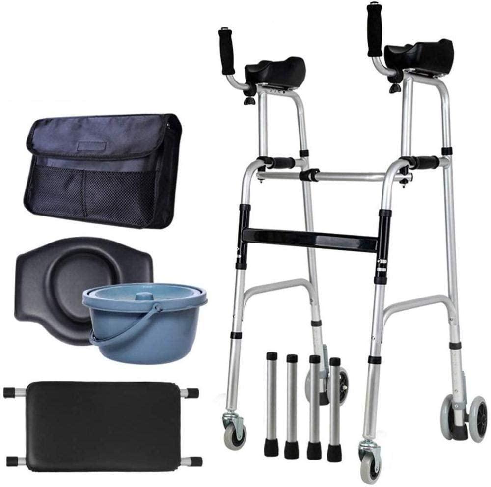HTLLT Walking Aid Medical Instruments Elderly Standard Walkers - Foldable Walker Adjustable Walking Assist Equipped - Rehabilitation Auxiliary Walking Frame for Disabled,Elderly
