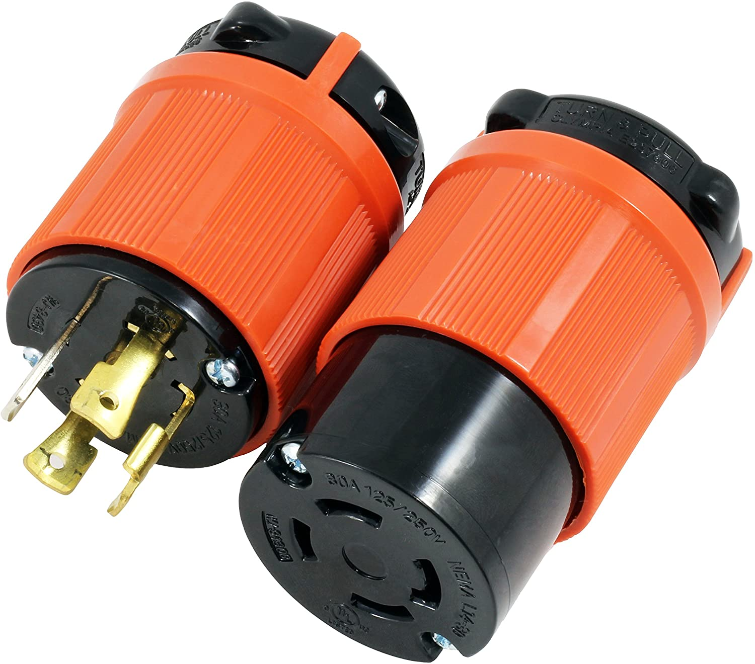 AC WORKS [ASL1430PR] NEMA L14-30 30Amp 125/250Volt 4Prong Locking Male Plug and Female Connector With UL, C-UL Approval
