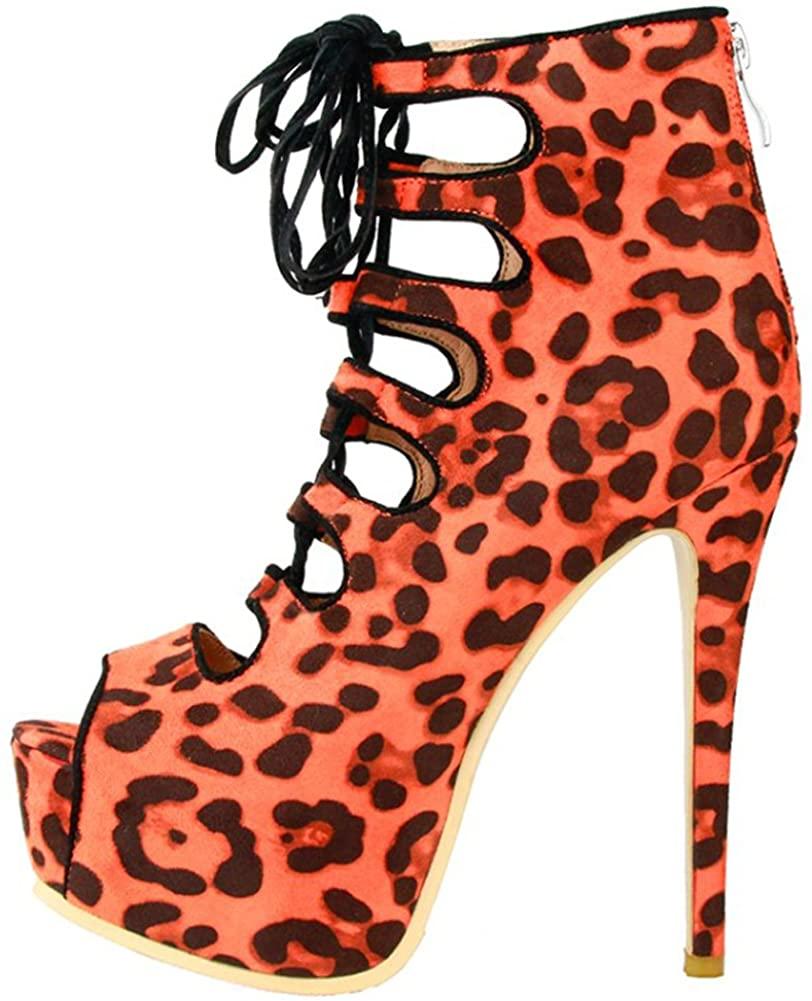 Zandina Womens Peep-Toe Ankle Boots Zipper Sexy High Heel Fashion Boots Shoes