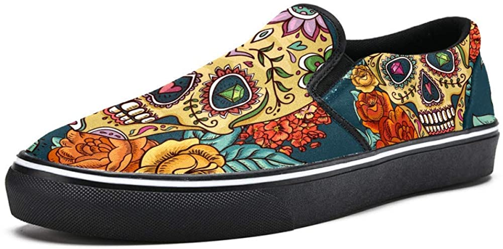 Floral Sugar Skull with Flowers Canvas Shoes Lightweight Loafers Shoe for Woman