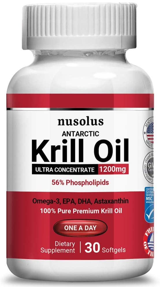 nusolus Antarctic Krill Oil with Omega-3s EPA, DHA, Astaxanthin and Phospholipids (1200mg)
