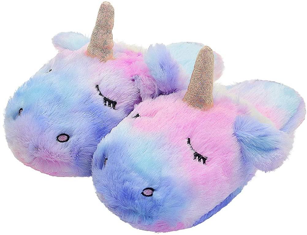 LA PLAGE Animal Slippers for Women Unicorn Memory Foam Indoor/Outdoor Slippers Bedroom House Shoes Slip-on