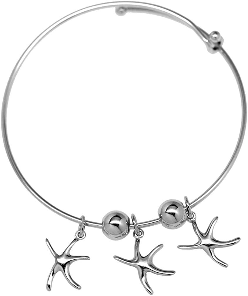 3 Starfish Bangle Bracelet Expandable by Cape Cod Jewelry-CCJ